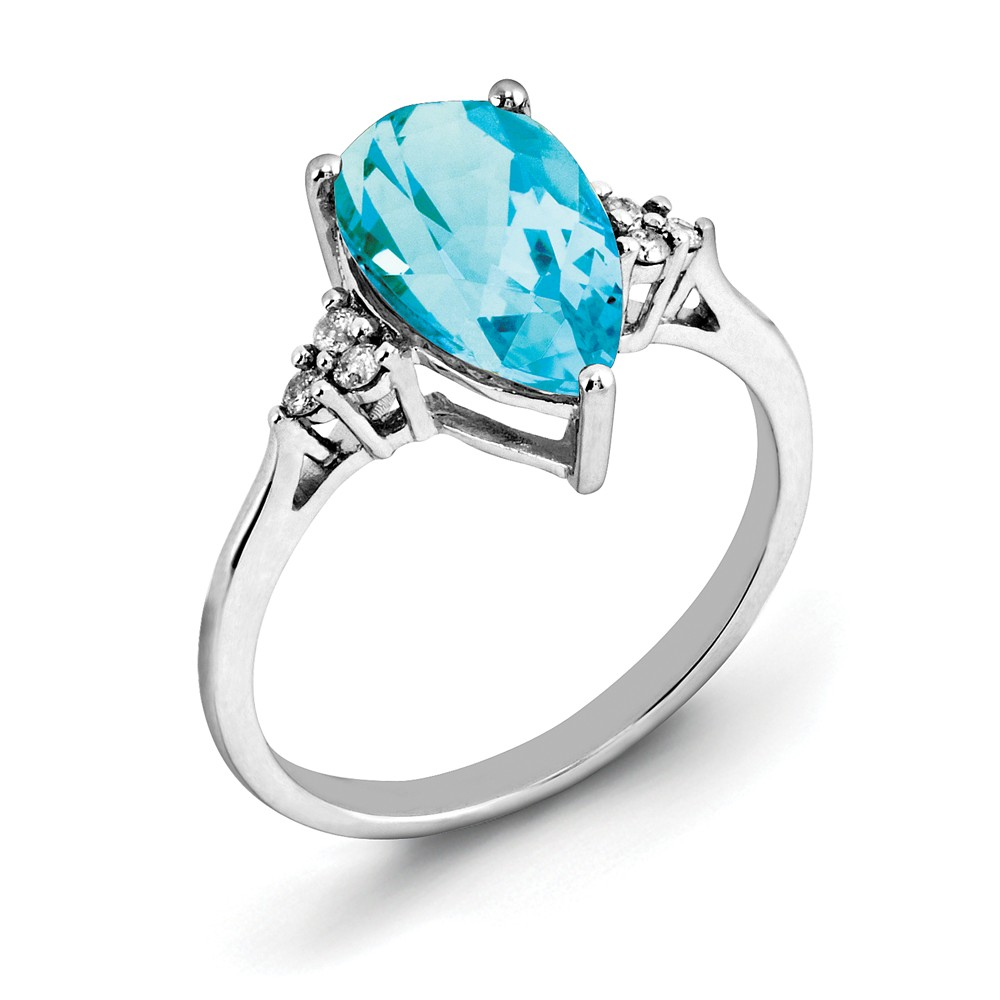 925 Sterling Silver Blue Topaz and Diamond Ring Size-6 by