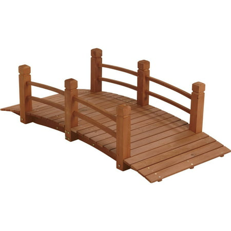 HGC Wood Garden Bridge with Double Rails Curved Rail Garden Bridge