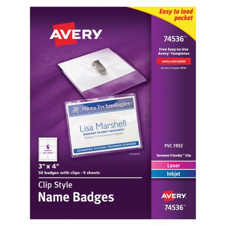 Avery Garment Friendly Clip Style Name Badges  3  X 4   White  Top Loading  50 Pack  74536