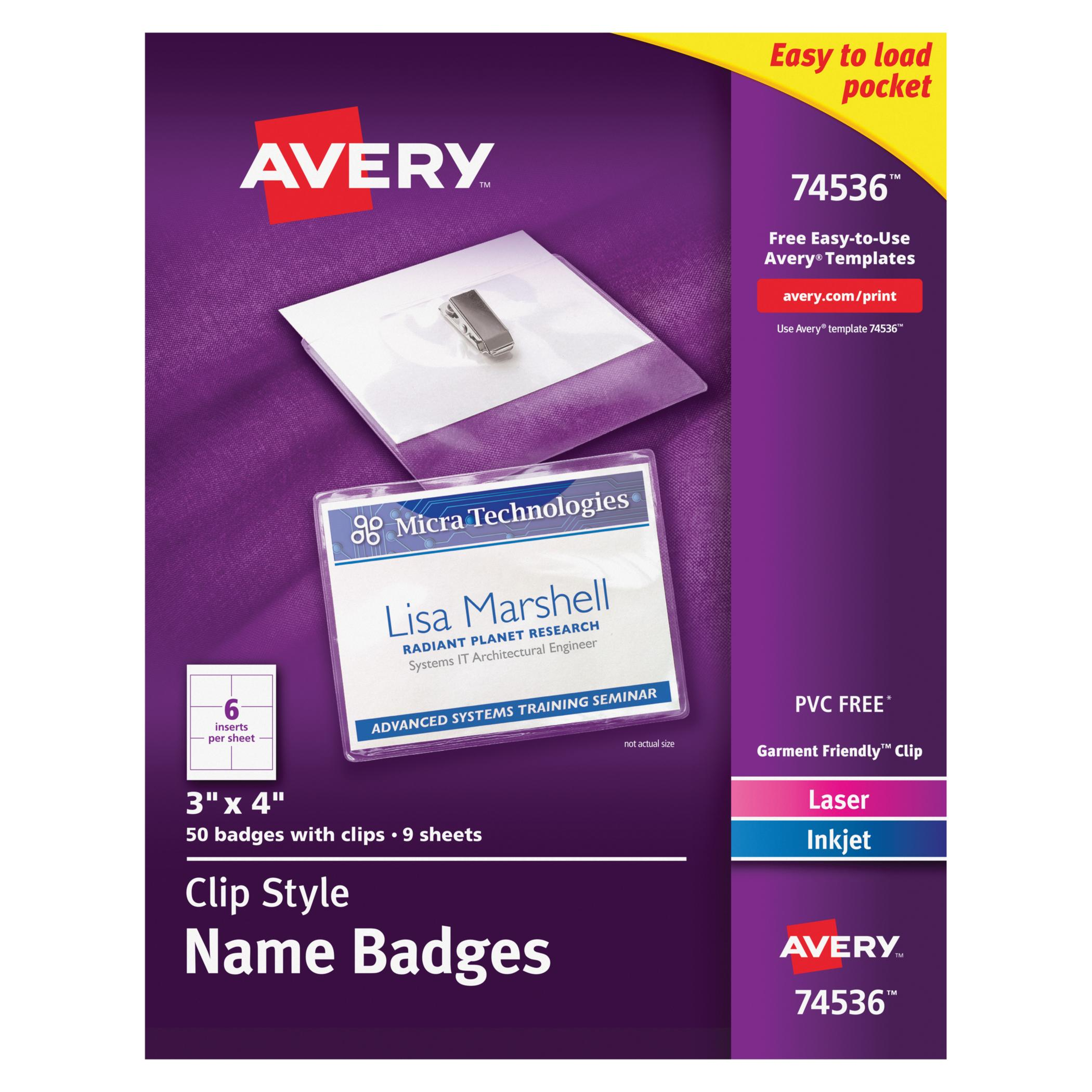 "Avery Garment Friendly Clip Style Name Badges, 3"" x 4"", White, Top-Loading, 50 Pack (74536)"