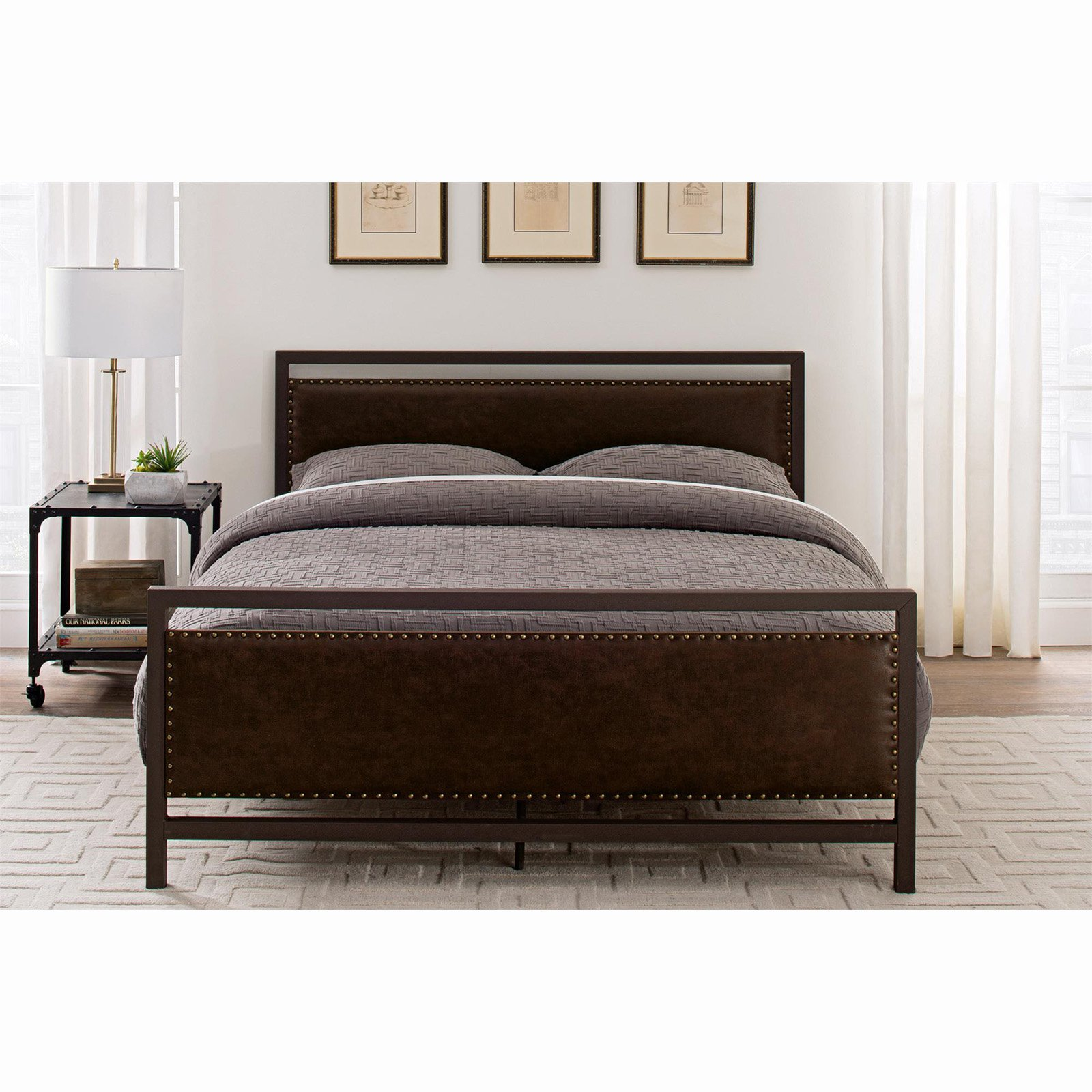 Vintage Metal And Upholstered Queen Size Bed - Queen - Brown - Dorel Home Products