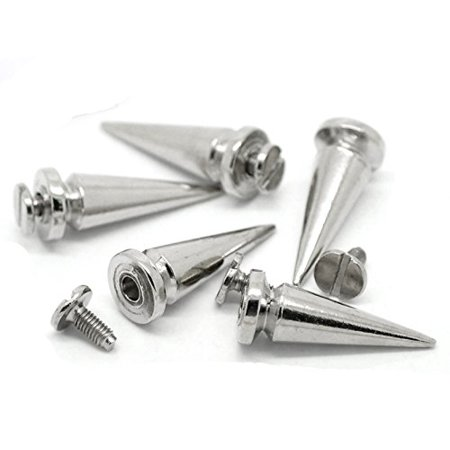 - 19 Sets Steal Tone Cone Screw on Spike Rivet Studs 25x8mm 1 Inch Spike Punk Gothic or Leather Work