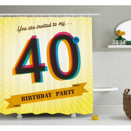 40th Birthday Decorations Shower Curtain, Vintage Graphic Banner Party Invitation Theme Optical Striped, Fabric Bathroom Set with Hooks, 69W X 70L Inches, Multicolor, by - 70's Theme Party Clothes