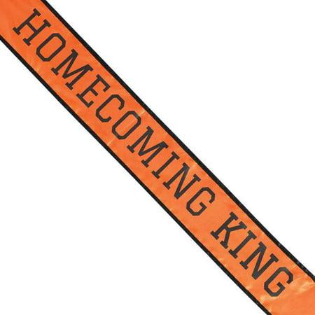 ORANGE & BLACK SCHOOL COLOR HOMECOMING KING SASH - Homecoming Court Sashes