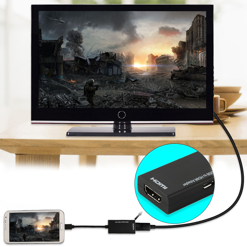 Display Port Micro USB To HDMI Adapter Cable Converter Black 12cm