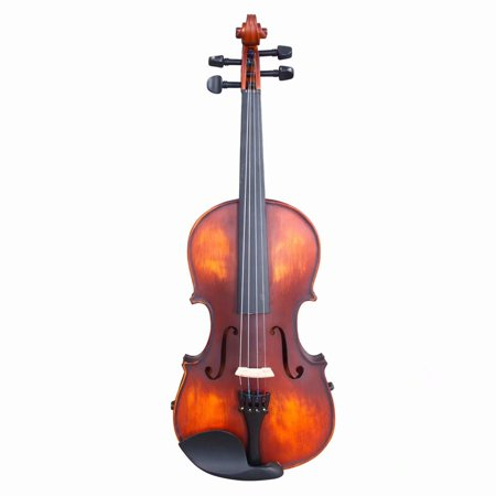 1/2 Classic Solid Wood Violin Case Bow Violin Strings Rosin Shoulder Rest Electronic Tuner Retro Color