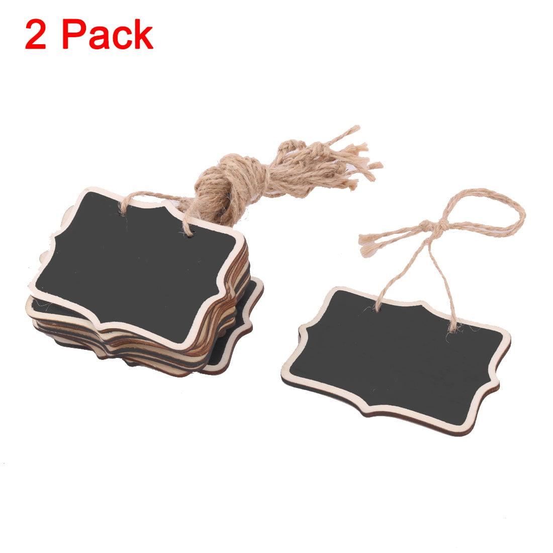 2 Pack, 12 Pcs/Pack Kitchen Wooden Message Memo String Hanging Reusable Chalkboard Blackboard
