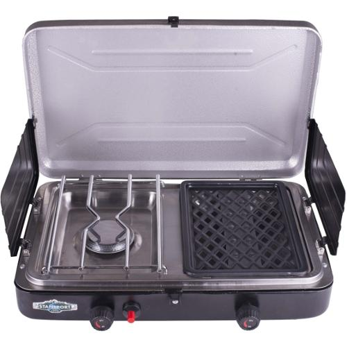 Stansport Compact Propane Stove and Grill - 2 x Burner - Stainless Steel