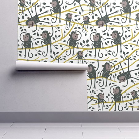 Peel-and-Stick Removable Wallpaper Monkey Monkey Nursery Decor Kids Room Monkey