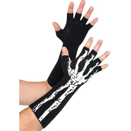 Glow in the Dark Skeleton Fingerless Gloves