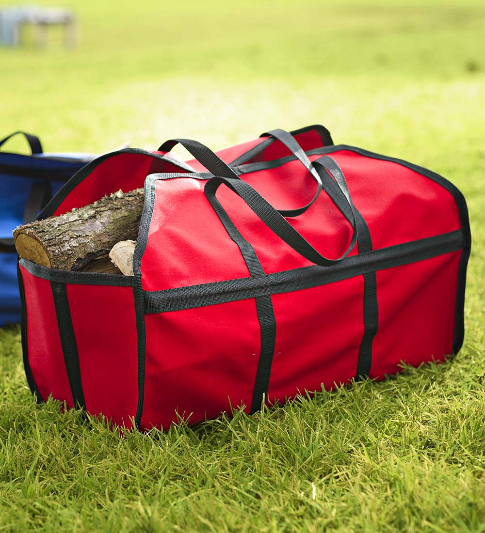 Stand-Up Canvas Log Carrier, in Red