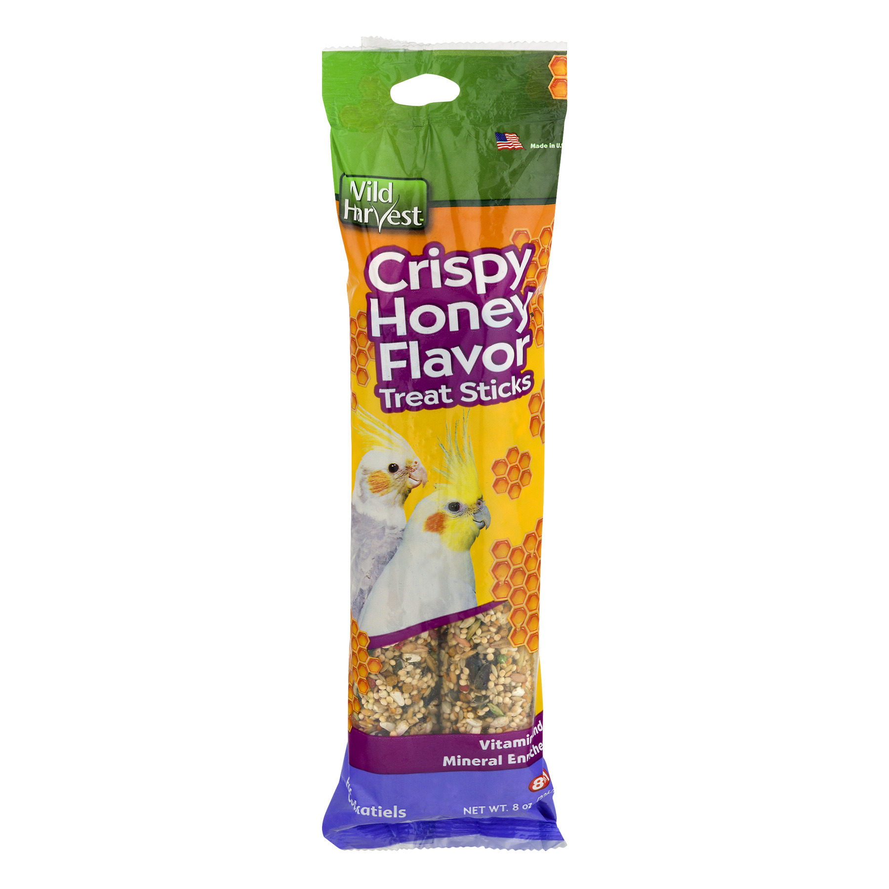 (2 Pack) Wild Harvest Crispy Honey Flavor Treat Sticks for Parakeets, 8 oz