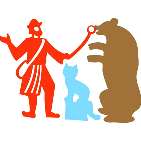 Man With Bear And Cat Picture Art