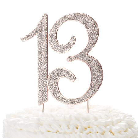 Ella Celebration 13 Cake Topper for 13th Birthday Party, Rhinestone Metal  Number (Rose Gold)