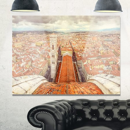 Florence Design (DESIGN ART Florence View from Duomo Cathedral - Cityscape Glossy Metal Wall Art )