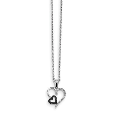 925 Sterling Silver Black White Diamond Heart Pendant Charm Necklace S/love Gifts For Women For Her