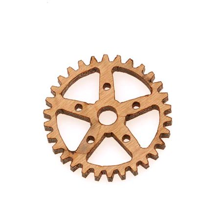 Cherry Wood Laser Cut Steampunk 5 Point Star Gear Pendant Component 3/4