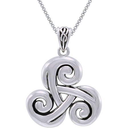 Sterling Silver Celtic Spiral Triskele Trinity Knot Pendant on 18 Inch Box Chain Necklace Sterling Silver Celtic Triskele
