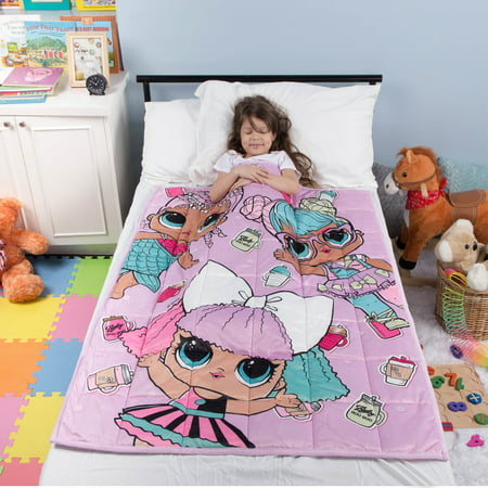 "L.O.L. Surprise! Kids Weighted Blanket, Super Soft Plush Bedding, 36u0022 x 48"" 4.5lbs, Purple/Pink"