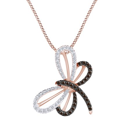 0.28 Cttw Round Cut White & Brown Natural Diamond Butterfly Pendant for Necklace 10k Solid Rose Gold