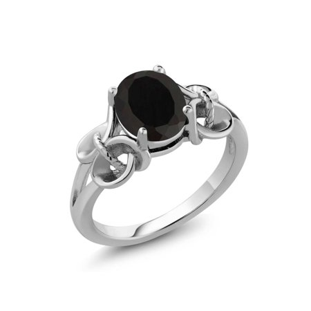 - 2.60 Ct Oval 9x7mm Black Onyx 925 Sterling Silver Women's Ring