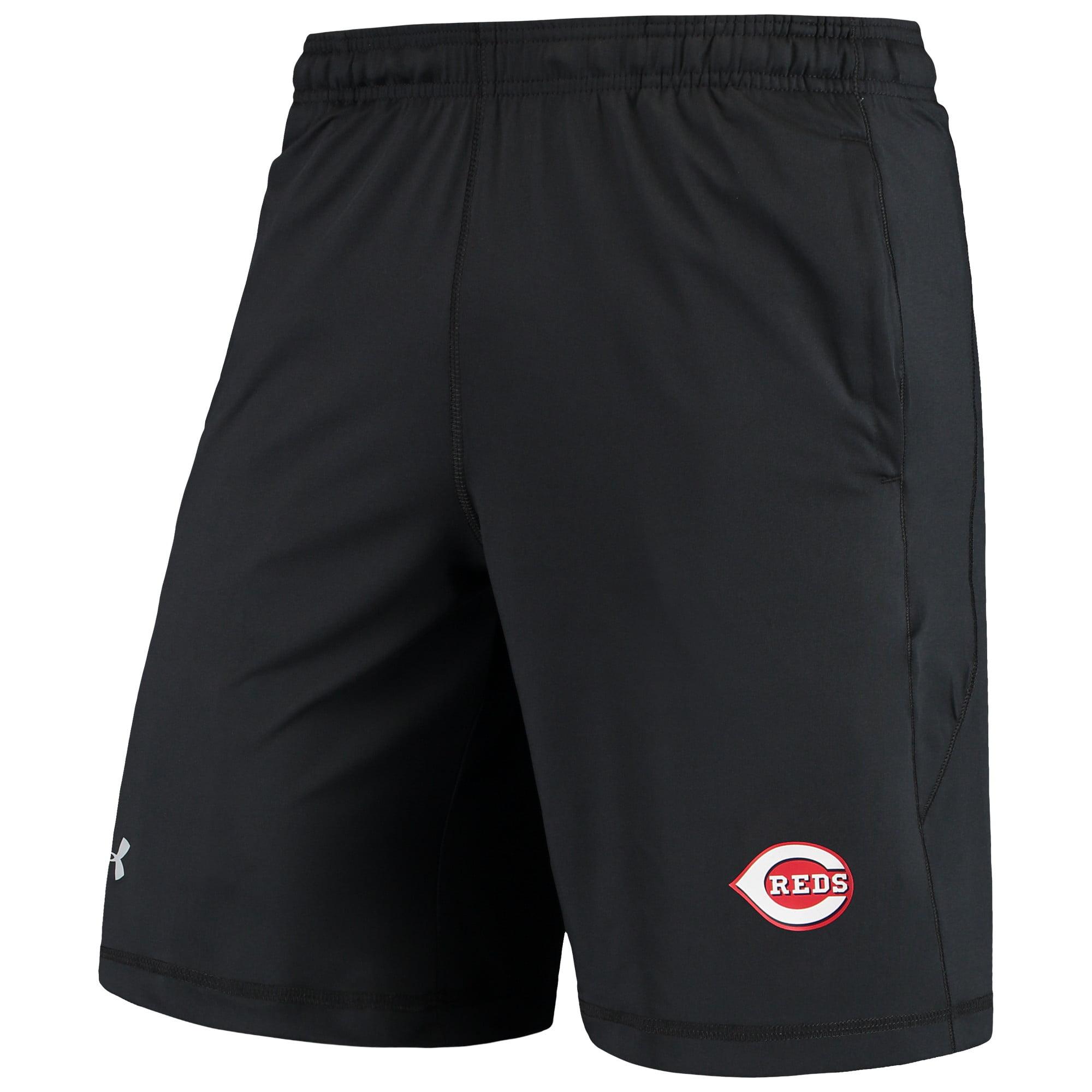 Cincinnati Reds Under Armour Raid Left Leg Performance Shorts - Black