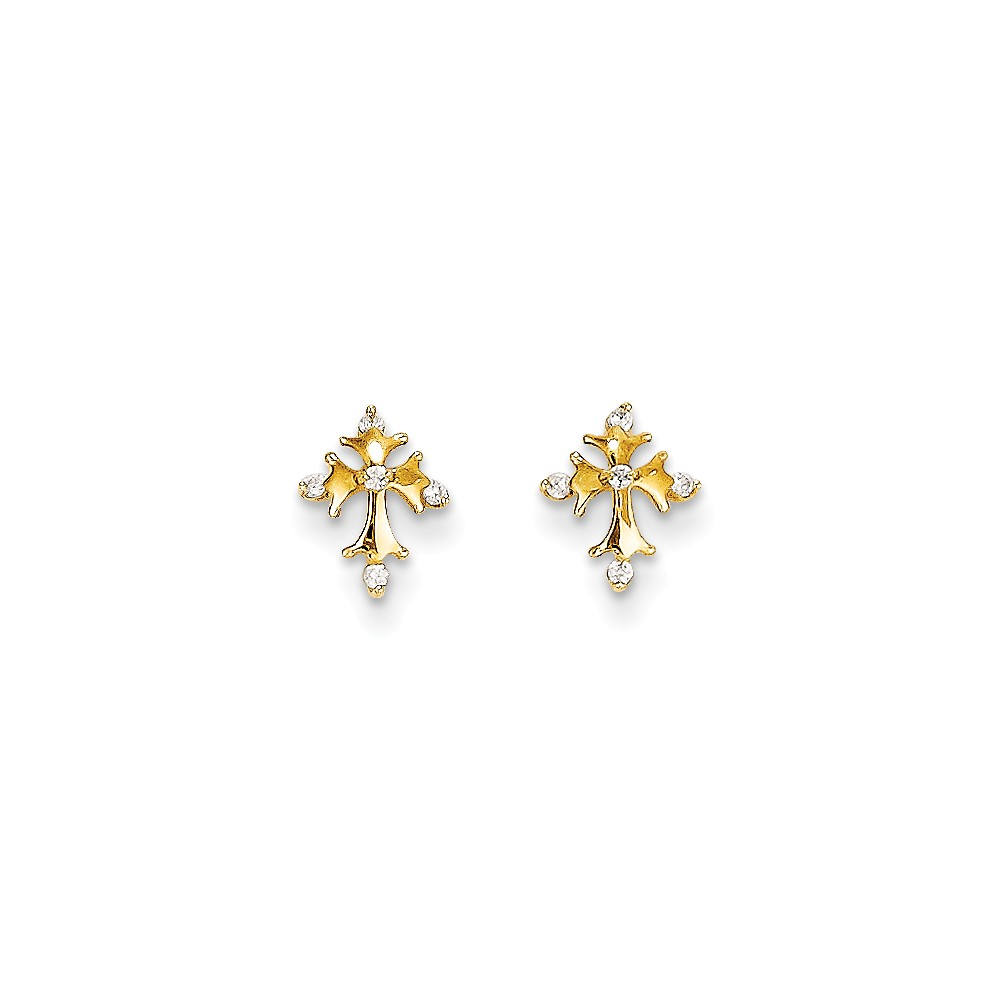 14k Yellow Gold Childs CZ Cross Post Earrings w/ Gift Box. (8.4MM Long x 6.6MM Wide)