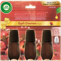 Air Wick Essential Mist Refill, 3ct, Apple Cinnamon Medley, Essential Oil Diffuser, Air Freshener, Aroma Diffuser
