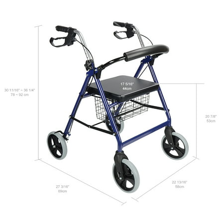 Four Wheel Walker Rollator with Fold Up Removable Back Support W/Soft Padded Seat,300Lbs Capacity - image 7 of 7