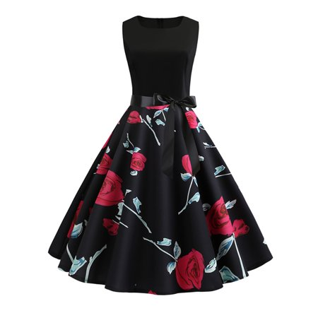 Womens 50s Style Vintage Floral Print Sleeveless Prom Retro Swing Dress (20s Style Prom Dress)