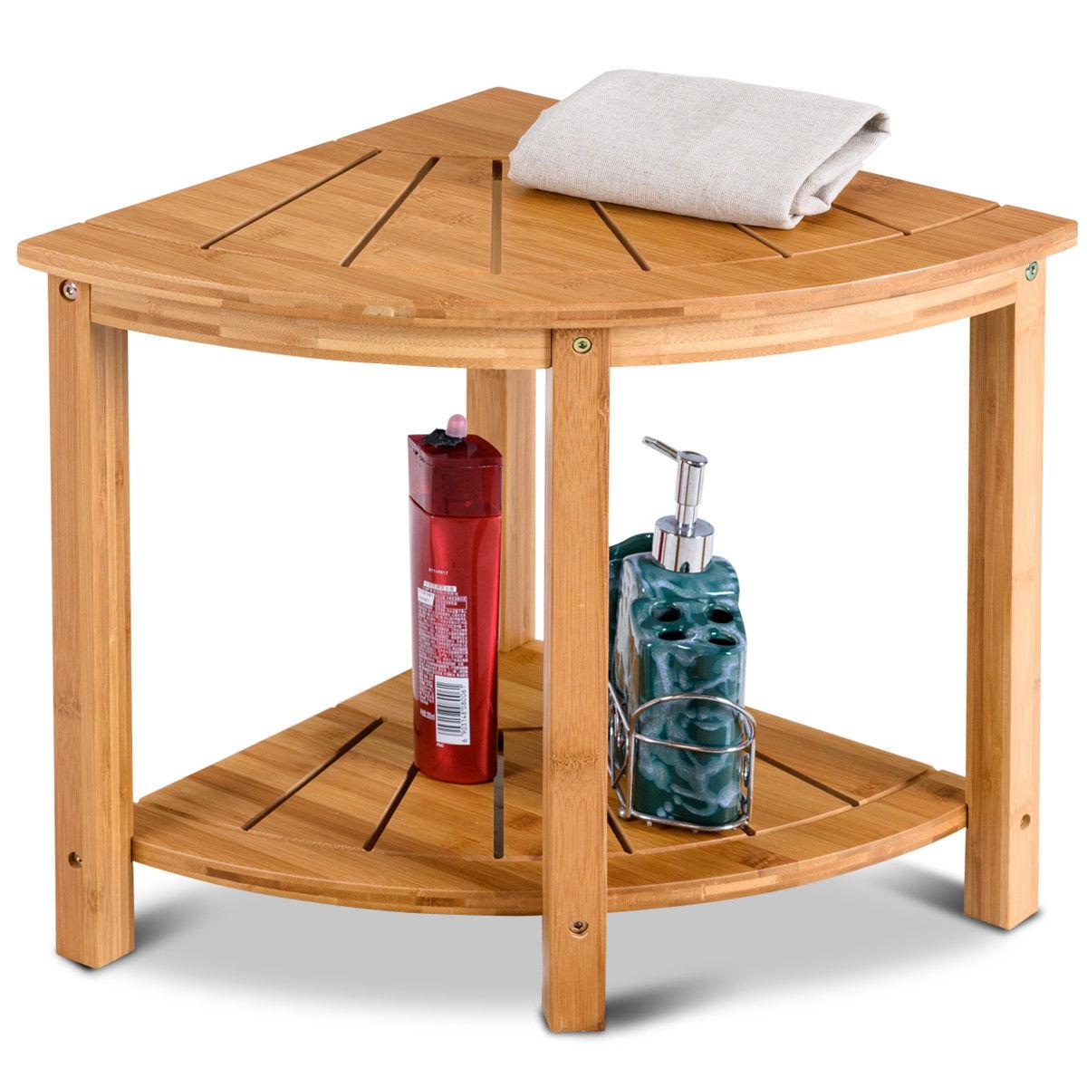 Gymax Shower Beach Bamboo Spa Seat Stool Bathroom Organizer w Storage Shelf by Gymax