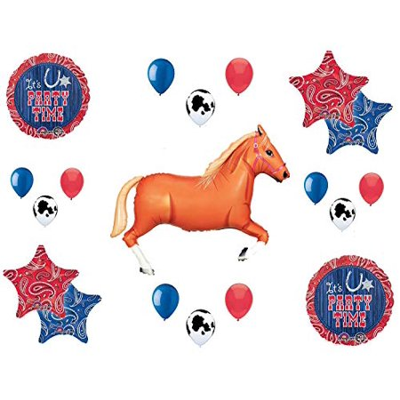 Western Theme Birthday Party Supplies Bandana Hoedown Rodeo Balloon Bouquet Decorations with Tan Horse - Western Hoedown