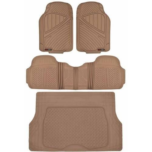 Motor Trend FlexTough Floor Mats for Car SUV and Van with Cargo Trunk Mat, Odorless EcoClean Liners, 3 Colors