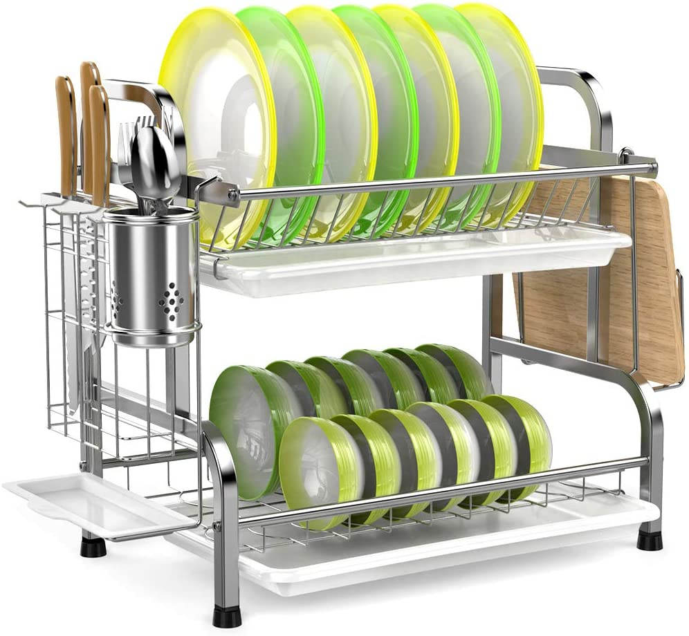 Dish Drying Rack Ispecle 304 Stainless Steel 2 Tier Dish Rack With Utensil Holder Cutting Board Holder And Dish Drainer For Kitchen Counter Walmart Com Walmart Com