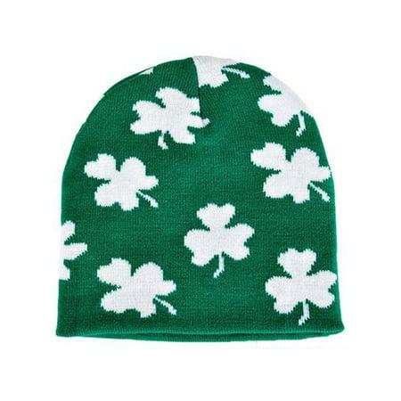 Saint Patrick's Day Irish Green And White Shamrock Knit Winter Beanie Hat Irish Hot Chocolate