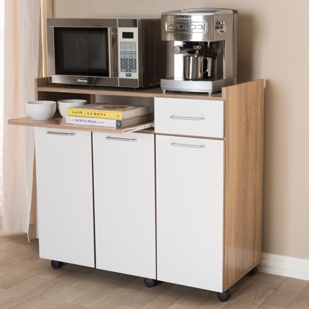 Baxton Studio Charmain Modern and Contemporary Light Oak and White Finish Kitchen