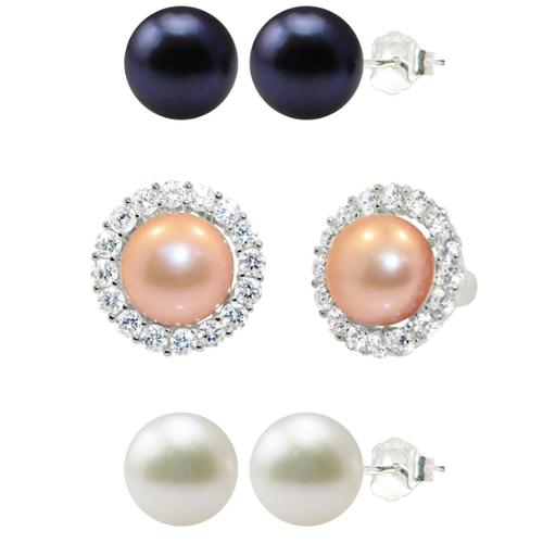 MaxMark Inc Sterling Silver White/ Peach/ Peacock Black Freshwater Cultured  Round Button Pearl and Cubic Zircon
