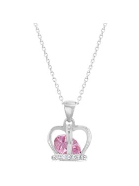 "Product Image 925 Sterling Silver Pink CZ Crown Pendant Necklace for Girls Kids Teens 16"". In Season Jewelry"