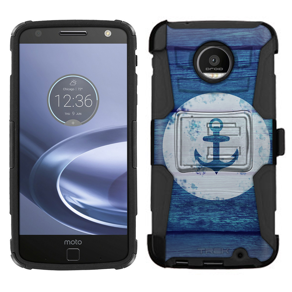 Motorola Z Force Droid Armor Hybrid Case Anchor on Blue Wood 2 Piece Case with Holster for Moto Z Force Droid
