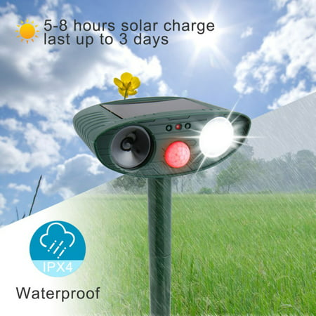 Ultrasonic Pest Repeller, Solar Powered Waterproof Outdoor Animal Repeller with Ultrasonic Sound,Motion Sensor and Flashing Light pest Repeller for Cats, Dogs, Squirrels, Moles, Rats