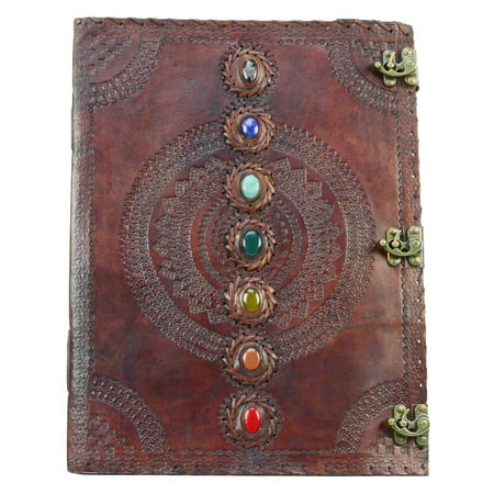 Extra Large 7 Chakra Stone Wicca Book of Shadows Huge 18
