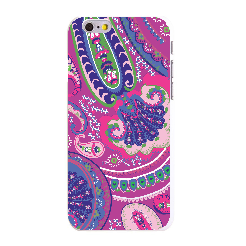 "CUSTOM White Hard Plastic Snap-On Case for Apple iPhone 6 PLUS / 6S PLUS (5.5"" Screen) - Pink Purple Green Paisley"
