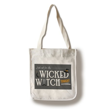 Look Out For the Wicked Witch - Happy Halloween - Lantern Press Artwork (100% Cotton Tote Bag - - Putnam Den Halloween