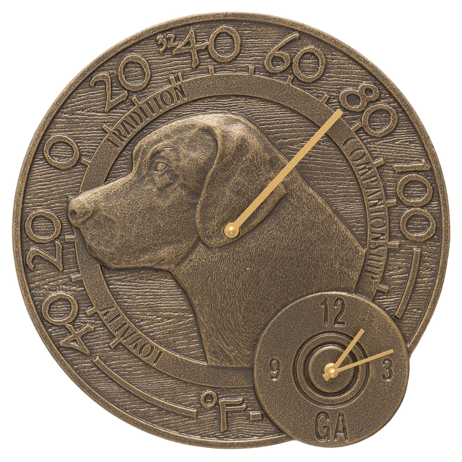 Whitehall Products Labrador 14-in. Indoor/Outdoor Wall Clock and Thermometer