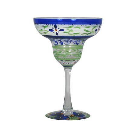 Set of 2 Blue and Green Floral Hand Painted Margarita Stemware Glasses 7