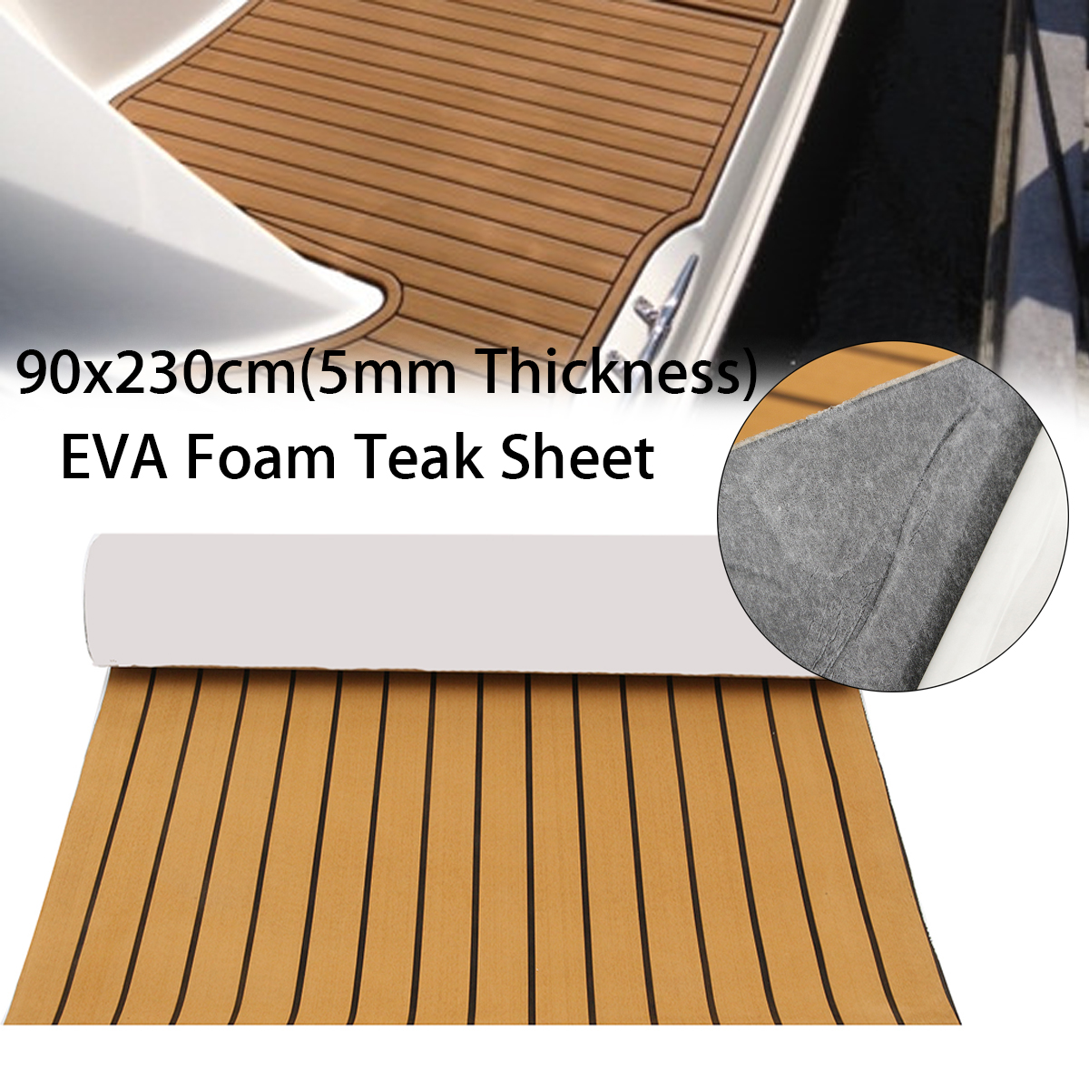 90x230cm Self-Adhesive EVA 5mm Foam Teak Sheet Boat Yacht Synthetic Decking Gold with Black Lines