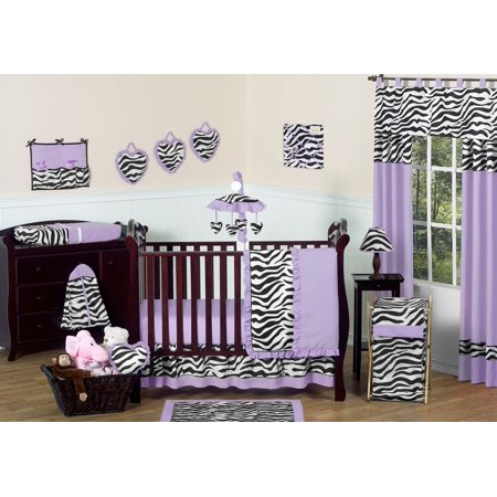 11pc Crib Bedding Set For The Purple Funky Zebra Collection By Sweet Jojo Designs