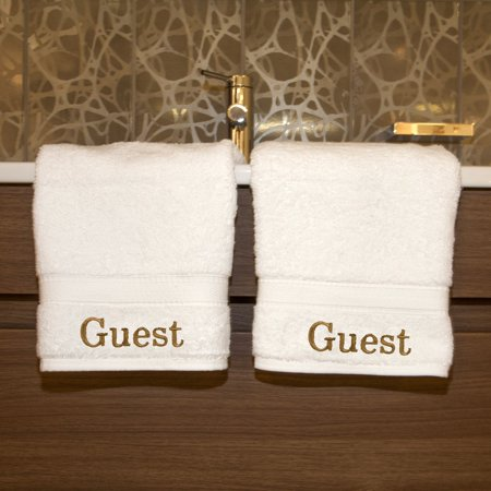 Luxury Home Hotel & Spa Guest Embroidered Turkish Cotton Hand Towels - Set of 2