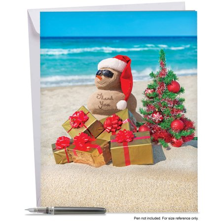 J6651EXTB Extra Large Merry Christmas Greeting Card: 'Season's Beachin' Thank You' Featuring Various Holdiday Greetings from Sunny Beaches Around the World, Greeting Card with Envelope by The Best