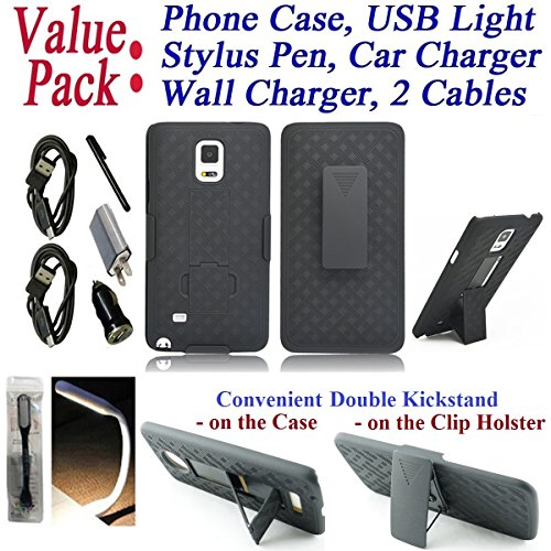 "Value Pack Cables + for 5.7"" Samsung Galaxy NOTE 4 Case Phone Case Belt Clip Holster 2 KickStand Rugged Shield Grip Grids Bumper Cover Black Combo Set"